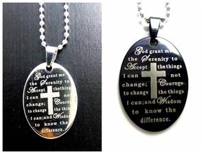 pingentes de aço inoxidável atacado Oração 50Pcs Serenity Prata Preto oval de Jesus colar Christian Deus a jóia serenidade
