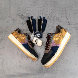 Travis Scott XAriaForce 1 Low Cactus Jack Zipper scarpe da corsa AJscarpe da basket Media oliva policroma oro scarpe da ginnastica Toe