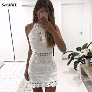 SEXMKL старинные выдалбливают кружевном платье 2018 женщин элегантный рукавов Белый летнее платье шикарный сексуальный пляж Vestidos партии мантия