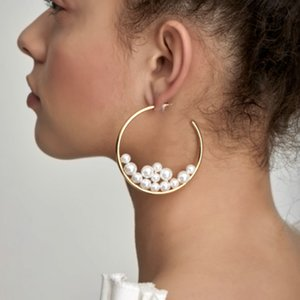 New Gold Circle Pearl Hoop Earrings For women Fashion Large Round Ear Rings Fashion Jewelry Accessories Girls Gift