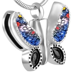 Collar colgante de cremación de la joyería de acero inoxidable para las cenizas Recuerdo de la urna Multicolor impermeable-mariposa con cadena de joyería IJD8552