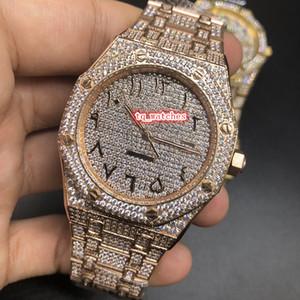 최신 남자의 다이아몬드 손목 시계 로즈 골드 스테인레스 스틸 시계 아랍어 디지털 스케일 시계 로즈 골드 다이아몬드 스트랩 기계식 시계