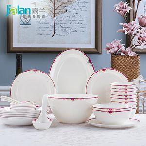 Garland 29 Head Charm purple Wedding Gift Set European bone china tableware ceramics configuration utility