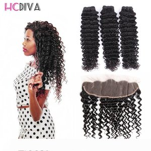 8A Unprocessed Brazilian Virgin Human Hair Extensions 3 Pics Mink Deep Wave With Lace Frontal 100% Unprocessed Virgin Hair Wholesale Price