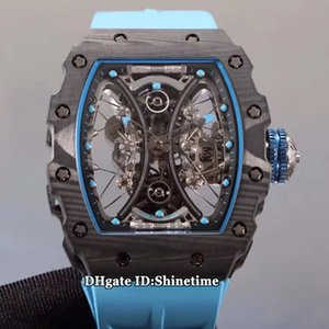 Top Mercado versión RM 53-01 Pablo Mac Donough fibra de carbono TPT® caso, una verdadera Tourbillon Automático RM53-01 del reloj para hombre correa de caucho relojes deportivos