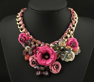 Fashion Pop Exaggerated Necklace Handmade Rope Flower Necklace Female Accessories