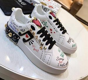 IMPRESSO bezerro NAPPA PORTOFINO tênis com PATCH e bordado sapatos desportivos moda si qualidade superior ocasional das mulheres novas das mulheres
