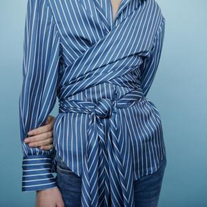 2019 primavera verão impressão listrada mangas compridas strip-down colarinho fita fita blusa mulheres camisa moda m3118