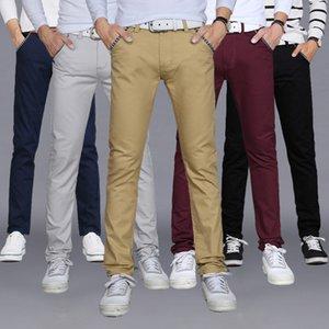 2018 del resorte del otoño de algodón para hombres Casual Pantalones Mezcla estiramiento flaco Slim Fit Solid pierna larga pantalones más el tamaño M-2XL