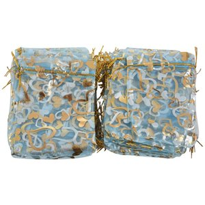 100 * Bags, Pouches, Organza Bags for Wedding, Jewelry, Gifts, Blue with Golden Heart, 120 * 100mm