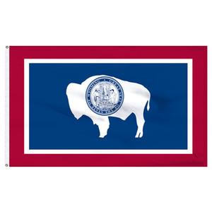 3x5ft Wyoming-Staats-Flagge von China Flaggen Lieferanten, 100D Polyester Hanging Fliege Individuelle Flagge freies Verschiffen