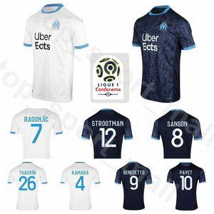 2020 2021 Olympique de Marseille Soccer KAMARA Jersey 12 STROOTMAN 17 SARR 19 Gustavo 14 CLINTON 2 SAKAI LOPEZ RAMI Football Shirt Kits
