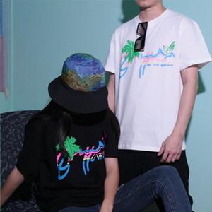 20SS Энди стиле Гавайи кокосовой пальмы напечатаны тройник экипаж шеи с коротким рукавом мода высокое качество дышащий мужские женщин пара футболки HFXHTX305