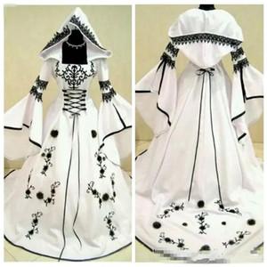 Klasik A-Line Siyah Dantel Nakış Beyaz Saten Gotik Gelinlik Ile Şapka Çiçekler Süslenmiş Vestidos De Mariee Artı Boyutu Gelinlikler