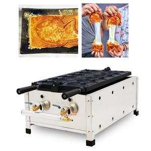 Gaz Kruvasan Taiyaki Makinesi Balık Koni Makinesi Ticari Waffle Balık Kek Ekmek Aperatifler Cihazı Gaz Taiyaki Yapımcısı