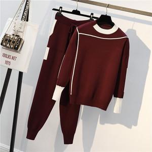 ZOGAA autunno Sweatsuit donne lavorato a maglia PulloversPants 2 pezzi Set casual maglione a strisce ponticello di tops + pants Sportwear Tute