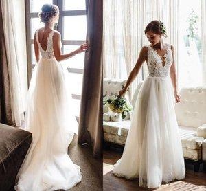 2020 boho Wedding Dresses V Neck Backless Sweep Train Appliques Beads Garden Beach Boho Bridal Gowns vestidos de novia Plus Size
