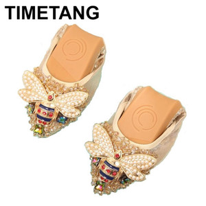 TIMETANG Plus Size donna di cristallo piane scarpe eleganti comode Lady Fashion strass donne molli Api Scarpe C289