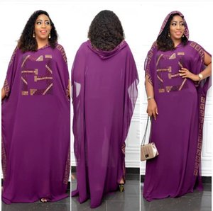 Free Ship 2020 Summer Women Bling Sequins African Muslim Dresses Casual Loose Chiffon Hooded Cover Ups Dress Onesize