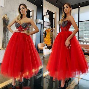 2019 бисерные красные платья выпускного вечера возлюбленные длина чая с рукавов сексуальные вечерние платья вечеринка одежда изготовлена на заказ плюс размер формальное платье