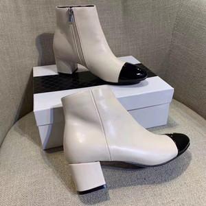 Stivaletti da donna in pelle verniciata con tacco a spillo Stivaletti da donna di moda con tacco alto in chunky con tacco alto, scarpe casual, scarpe originali