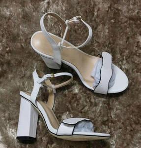 Hot Sale-Designersandals duplo de metal Senhora do partido do verão vestido de casamento sapatos sapatos Sexy 8 cores