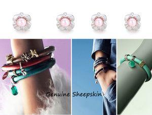 Angel Bola Endless Charms 핑크 진주 꽃 교환 할 수있는 보석 맞추기 다양한 판도 팔찌 액세서리