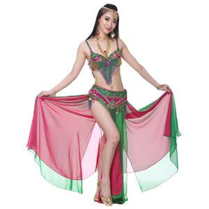 Lady adulto mulheres de dança do ventre saia cores duplas 3 peças (bra + cintura cadeia + saia) Para Bellydance Sexy Belly Dance Set