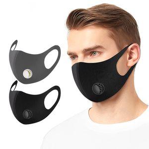 Schwarz Grau wiederverwendbares Gesicht Mund-Maske mit elastischem Earloop Waschbar Maske Breathventil für Kinder Männer Frauen DHB367