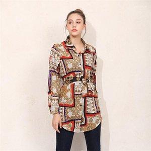 Улица Одежда Bowknot Кардиган Женщина Блуза лето Сыпучих кнопки Printed отворот шея рубашка с длинным рукавом Женской партия