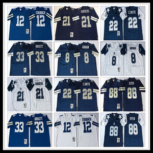Retro Football Deion Sanders uomini di Troy Aikman Emmitt Smith Tony Dorsett Randy White Michael Irvin Roger Staubach Jersey ricamati Navy White