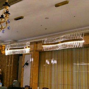 conception longue vague lustre cristal lampe LED AC110V 220V lustre cristal Kronleuchter éclairage d'un bar lumineux