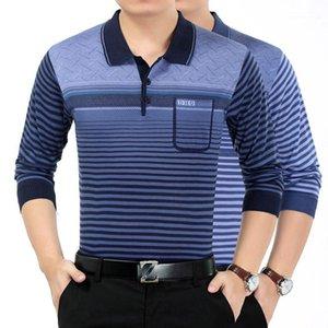 Les hommes cou Vêtements rayé lambrissé Mens Designer Chandails Mode en vrac de poche Boutons Hommes Pull Lapel