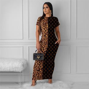 Les femmes marque lambrissé robes maxi léopard vêtements sexy club d'été élégant automne manches courtes robes de soirée de fête de vacances gaine 2393