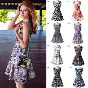 Mode-neueste Art und Weise Frauen beiläufiges Kleid plus Größen-preiswertes China-Kleid 19 entwirft Frauen-Kleidungs-Art- und Weisesleeveless Summe Kleid Freies Verschiffen