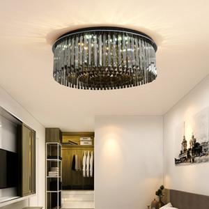 techo nuevo diseño contemporáneo araña de cristal redonda enciende lámparas de cristal ahumado encendiendo lámparas de techo LED de salón dormitorio