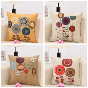 Federe Cartoon Flower Throw federa divano in lino federe con chiusura a cerniera Home Decor 4 disegni XH3085