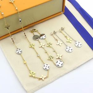 أوروبا أمريكا المجوهرات الموضة يضع سيدة أجوف خارج أربعة زهرة ورقية V أحرف 18k ذهبي 3 قلادة الأقراط الماس اللون