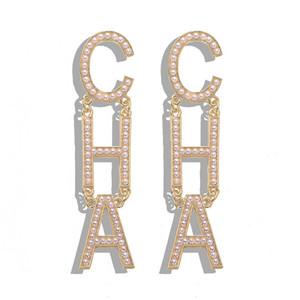 Progettista di lusso popolare di lusso esagerato grande lettera di perla cha cha goccia lungo lampadario lampadario orecchini per le donne in oro argento