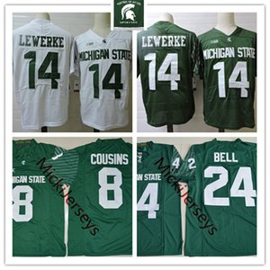 Homens NCAA # 14 Brian Lewerke Michigan State Spartans Football Jersey 26 Le'Veon Bell 8 Kirk Cousins ​​Michigan State Jersey