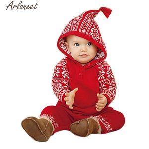 ARLONEET barboteuses Nouveau-né Bébés filles garçon de Noël à capuchon Romper Vêtements bébé Noël barboteuses P30 Nov30 S200107