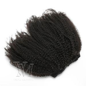Brazilian 100% Unprocessed Virgin Human Hair Extensions 4B 4C Clip In Natural Color 100g 120g 160g 180g 200g Clip In