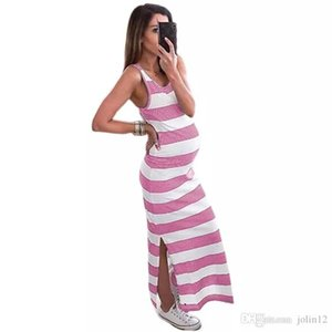 2019 European and American striped maternity dress summer fashion pregnant mother 3-9 months spring maternity dress round collar skirt