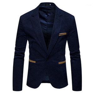 ملابس الرجال الرخيصة الربيعية الربيعية في الرقبة طويلة الكم Mens Cordury Blazer موضة زر واحد لون صلب