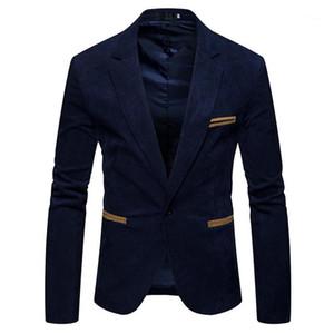 Botão Mens Suits Jacket Primavera Masculino Vestuário V Long Neck Sleeve Mens Corduroy Blazer Moda Único cor sólida