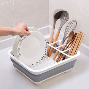 Kitchen Accessories Rack Set Dish Cutlery Cup Rack With Tray Steel Drain Bowl Shelf Folding Drainer