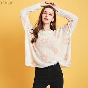 ARTKA 2020 Spring New Women Sweater Elegant Casual Long Sleeve Thin Knitted Sweater O-Neck Loose Pullover Wool Knitwear YB25005C