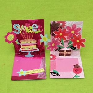 16 шт. / лот трехмерный цветок торт ко Дню Рождения карты с конвертом Каваи 3d творческий Поздравительная открытка сообщение карты T8190617