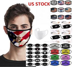 US STOCK, Designer-Maske Anti-Staub Schwarz Lives Matter Ich kann nicht atmen für Radfahren Cartoon Cotton Flag Trump Waschbar wiederverwendbare Tuch Masken