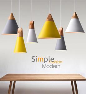 Modern Holz Pendelleuchten Lamparas Bunte Aluminium Lampenschirm Leuchte Pendelleuchten für Esszimmer / Restaurant / Bar / Café